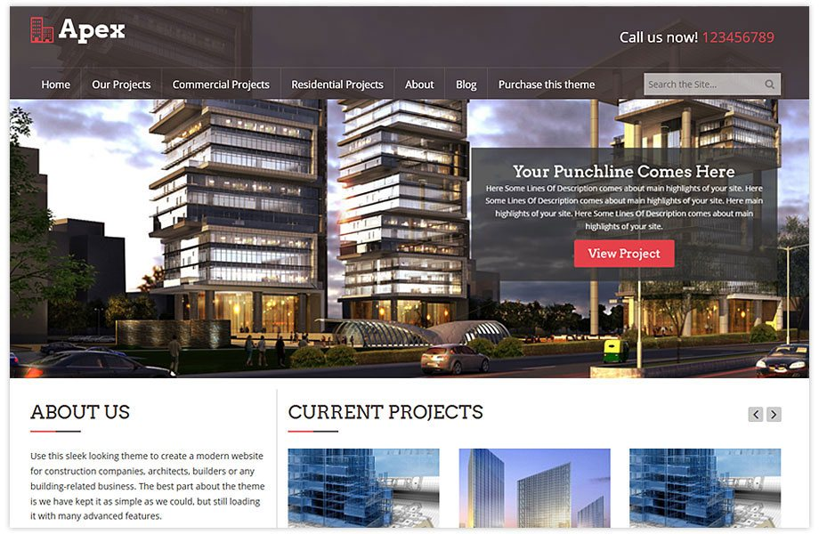 Apex building and construction WordPress theme