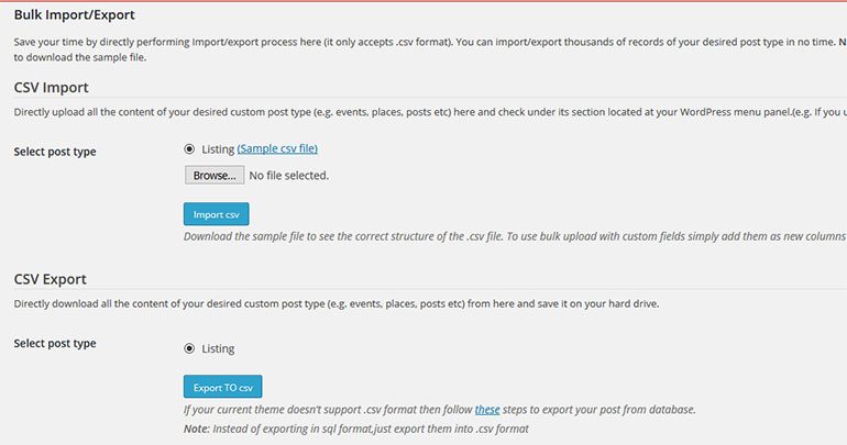 Bulk Import Export plugin for WordPress