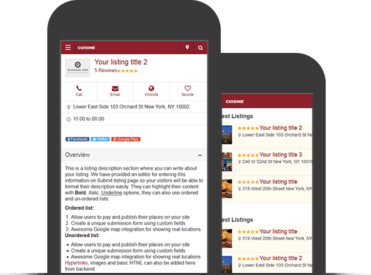 Mobile Version Restaurant Listings Directory Theme