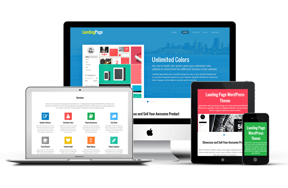 Responsive WordPress Single Landing Page Theme