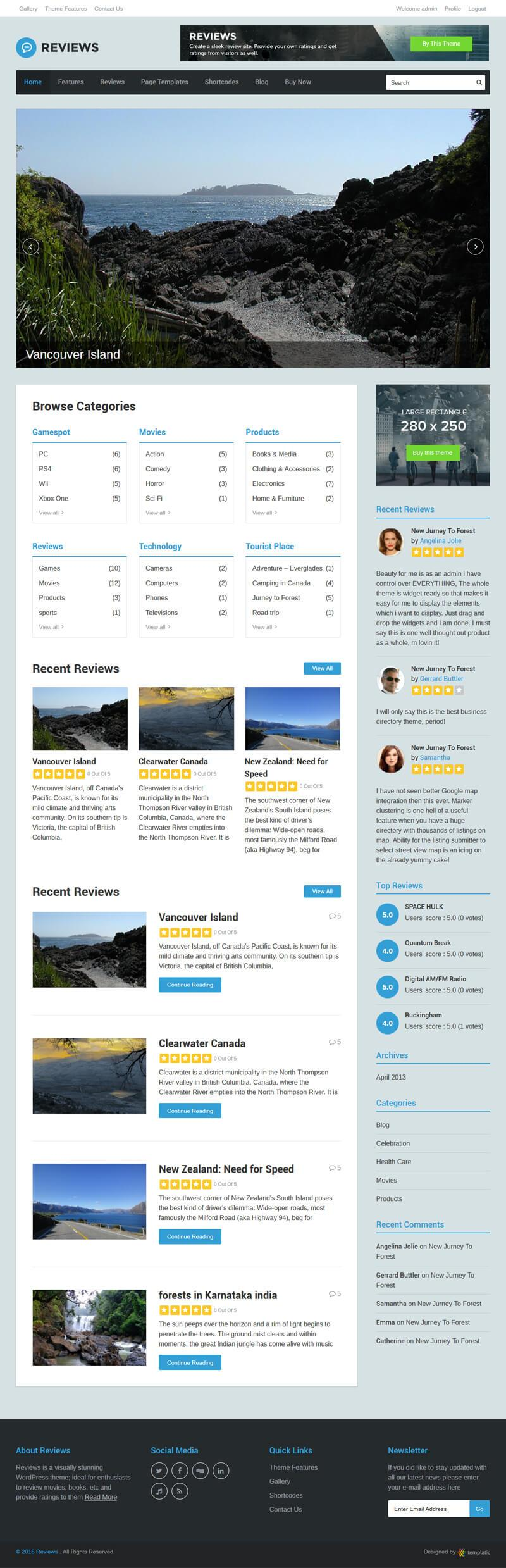 Ratings and reviews WordPress theme