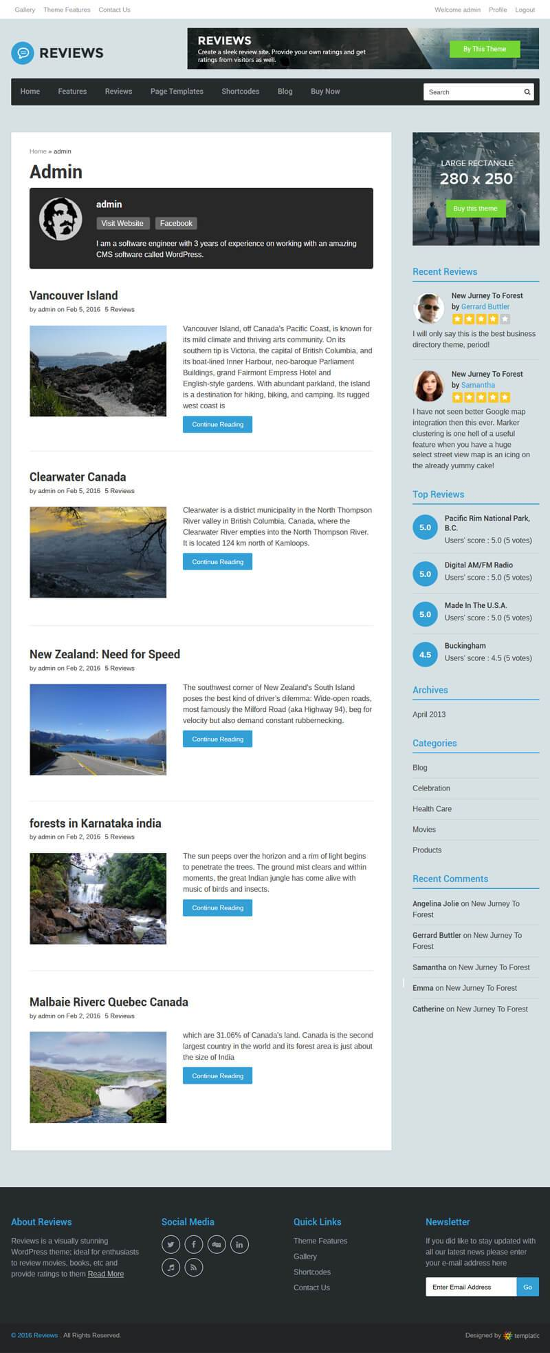 Profile In Reviews WP Theme