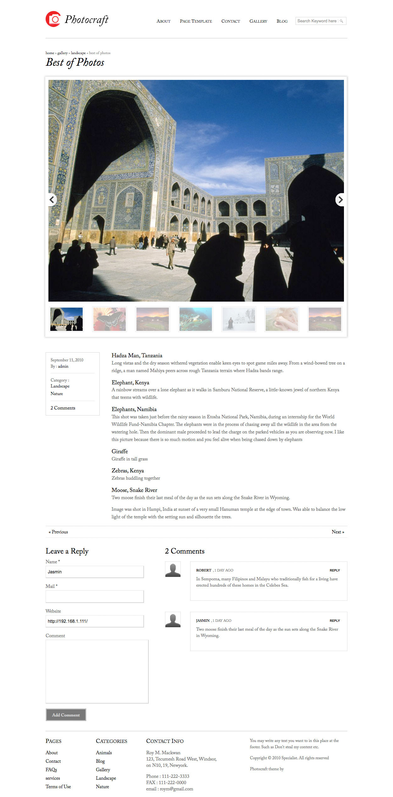 Templatic Photocraft WordPress Photography Theme - Auto re-size images