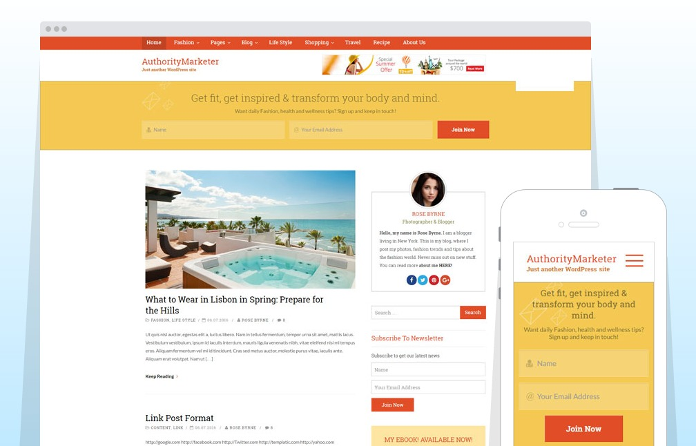 Authority Marketer – A Free WordPress Theme for Lifestyle Bloggers