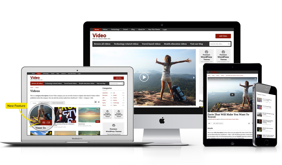 Video wordpress theme is fully responsive to all devices