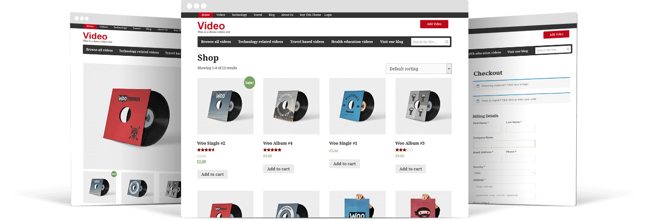Our video wordpress theme is full woocommerce compatible