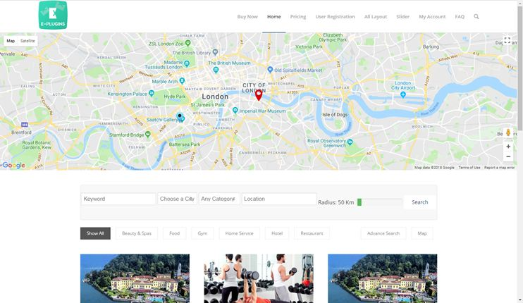 directory listing template that allows booking or reservation